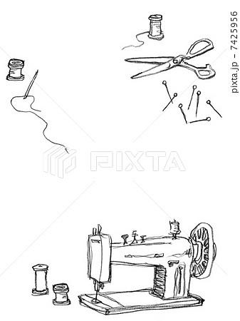 針仕事 レイアウト 便箋のイラスト素材 7425956 Pixta