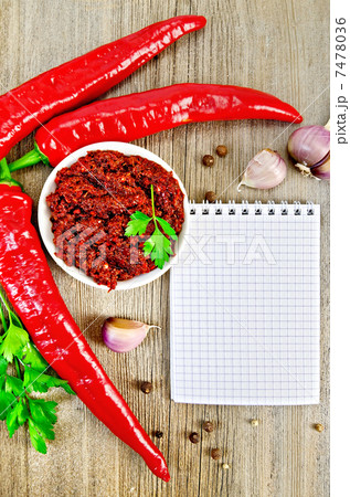 Adjika with fresh chili peppers and a notepadの写真素材 [7478036] - PIXTA