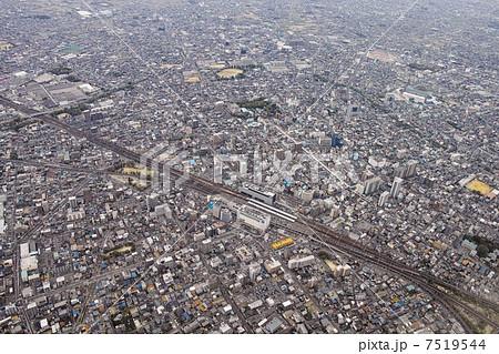 愛知県一宮市中心部を空撮の写真...