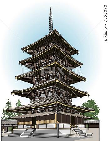 法隆寺五重塔のイラスト素材 7550070 Pixta