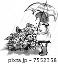 雨具 女の子 雨のイラスト 7552358