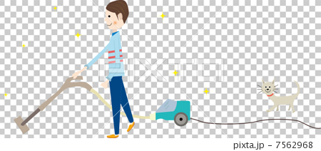 掃除機で掃除する男性 7562968