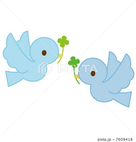 飛ぶ青い鳥 二羽のイラスト素材 7609418 Pixta