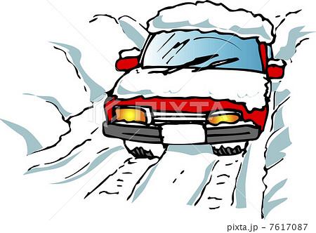 雪道ドライブのイラスト素材 7617087 Pixta