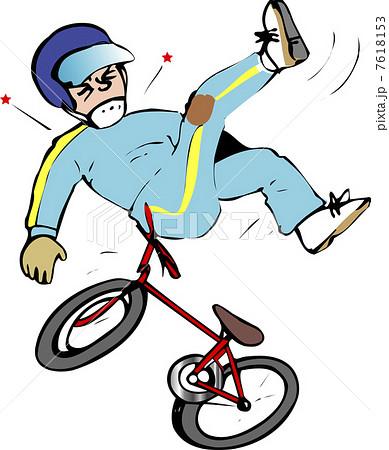 自転車転倒のイラスト素材 7618153 Pixta