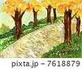 並木道 並木 紅葉のイラスト 7618879