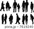 人 カップル シルエットのイラスト 7619240