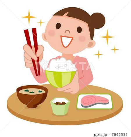 食事中の若い女性のイラスト素材 7642555 Pixta