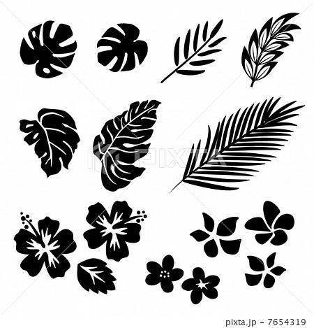 南国 葉と花 シルエットのイラスト素材