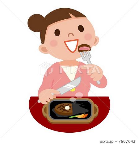 ステーキを食べる女性のイラスト素材 7667042 Pixta