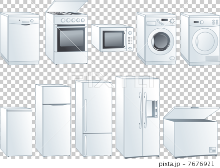 washing machine and dryer clipart. kitchen home appliances: fridge, oven, stove, microwave, dishwasher, washing machine, dryer. vector machine and dryer clipart s