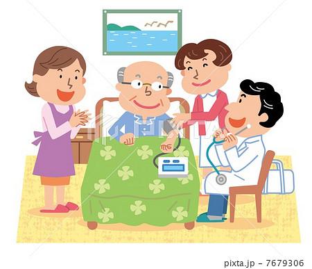 訪問診療 在宅医療 高齢者 イラスト 7679306