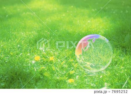 地球エコイメージ 芝の上の虹色の地球儀 7695252