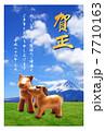 馬年 年賀状|仔馬の親子 富士山と草原 2014年 フチあり賀正 縦 7710163