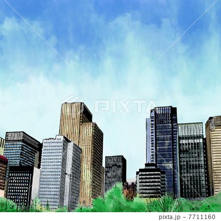 イラスト素材: 都会的な街並み