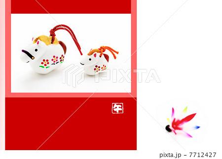 馬の親子 写真年賀状 午年人形と紅白枠 背景 7712427