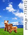 年賀状 背景写真画像素材 午年 2014年 富士山と草原の馬 7734772