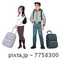 スーツケース カップル 二人のイラスト 7758300