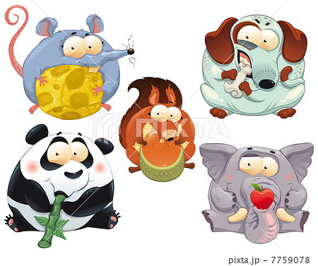 group of funny animals with food のイラスト素材 7759078 pixta