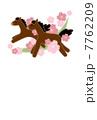 年賀状 馬とさくら 7762209