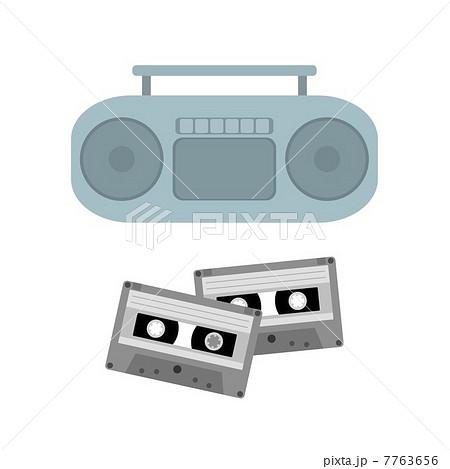 ラジカセとカセットテープのイラスト素材 7763656 Pixta