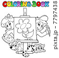 Coloring book with kids and canvas 7797438