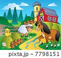 農場 馬 鳥のイラスト 7798151