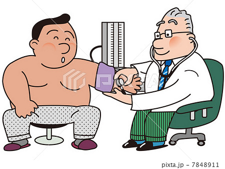 肥満患者の血圧を測る医者  7848911