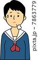 ため息をつく10代女子中学生 7863779