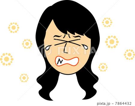 花粉症で苦しい20代女性の顔のイラスト素材 7864432 Pixta