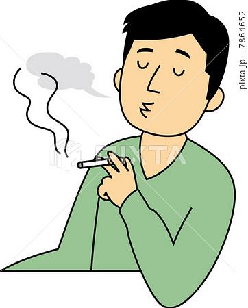 煙草を吸う40代男性のイラスト素...