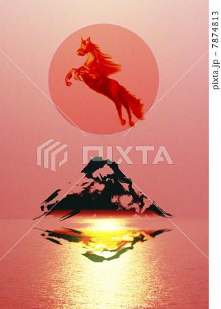 午年(駆け上る馬と富士山・レッド) 7874813