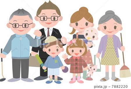 三世代7人家族のイラスト素材 7882220 Pixta