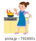 料理中に火傷をする女性 7928901