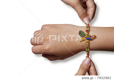 Rakhi on a boys hand 7932962