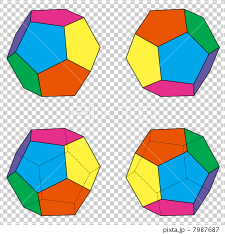 Four patterns of regular dodecahedron set 7987687