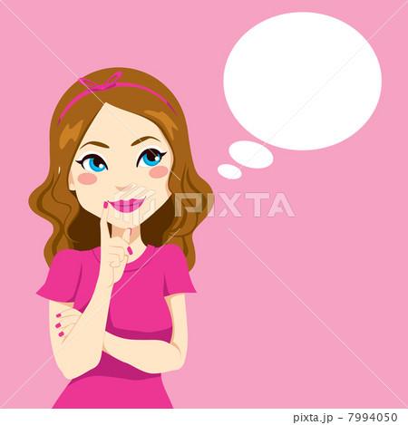 pretty girl thinkingのイラスト素材 7994050 pixta