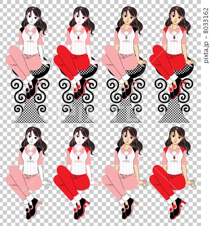 座る若い女性の挿絵カットイラスト(赤ピンク系セミロングヘアー)8パターン 8033162