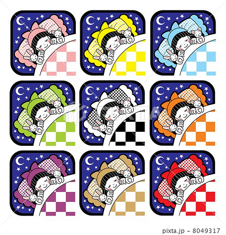 夜布団で眠る女の子とウサギと猫アイコン9色セット 8049317