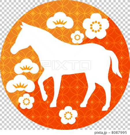 和風の馬のシルエット 8087995