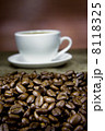 cup of coffee and beans on sack 8118325