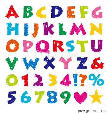 ... : アルファベット クレヨン風 : 英語 アルファベット表 : 英語
