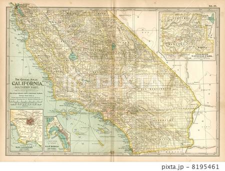 20世紀初頭古地図「カリフォルニア/ロサンゼルス」 8195461