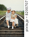 boys with suitcase on railways 8200707