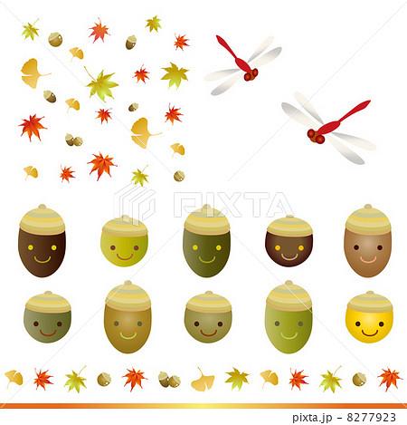 かわいい どんぐり 秋素材セットのイラスト素材 8277923 Pixta