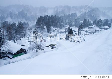 新潟県十日町市 雪降る小白倉集落の景観 8334623