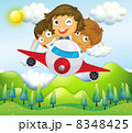An airplane with three playful kids 8348425