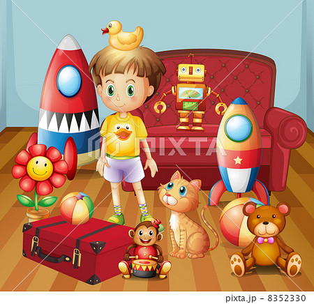 A child inside the house with his toys 8352330