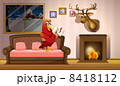A parrot holding a book beside a fireplace 8418112