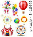 A clown playing balls with different circus stuffs 8418449
